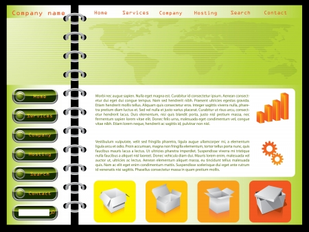 Green combined with orange color web template design
