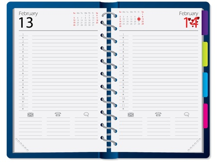 Notebook design with calendar notepapers and metallic rings