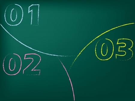 Stationary chalkboard design with huge numbered slices Vector