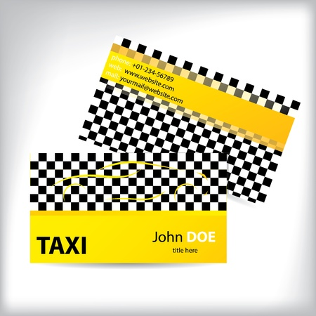 Checkered taxi business card design ideal for taxi drivers Vector