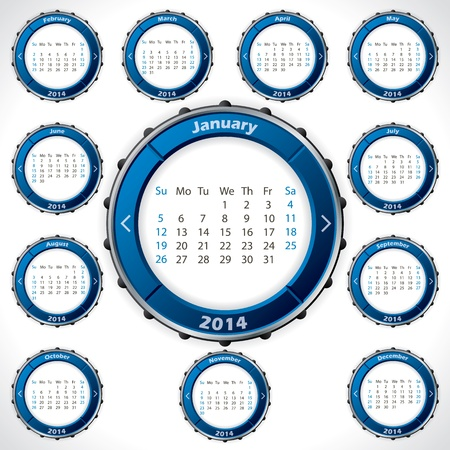 Unusual and rotateable 2014 calendar design with blue color Stock Vector - 21767525