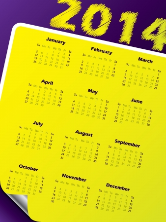 Simple 2014 calendar design with vivid colors and peeled corner