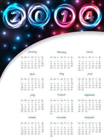 Cool plasma calendar design for the year 2014 Vector