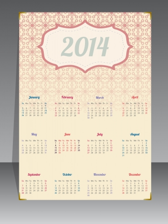 Old style 2014 calendar with fading textured background Stock Vector - 21767539