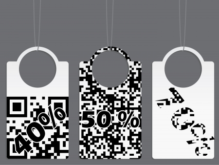 rapidity: Qr coded label set with various discounts Illustration
