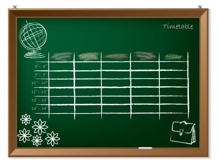 classes schedule: Empty timetable hand drawn on green chalkboard