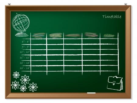 timetable: Vuoto calendario disegnato a mano sulla lavagna verde Vettoriali