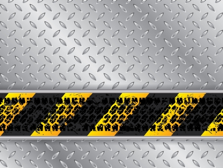Abstract metallic plate background with truck tire track Vector