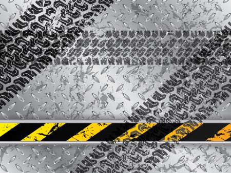 tread plate: Abstract metallic plate background with tire tracks