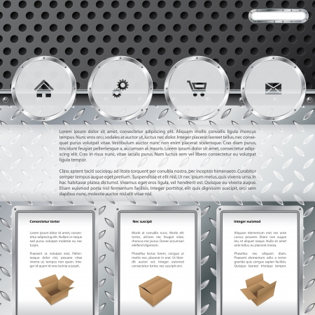 Cool industrial theme website template design with product description Vector