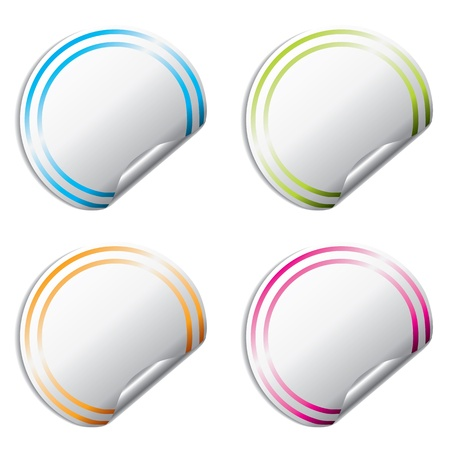 Blank color sticker set of 4 with peels Vector