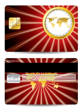 Golden map and ring credit card design on white Stock Vector - 22179956