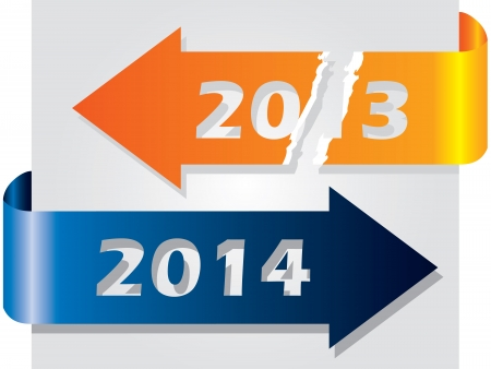 Old year vs new year illustrated with ripped and new arrow Vector