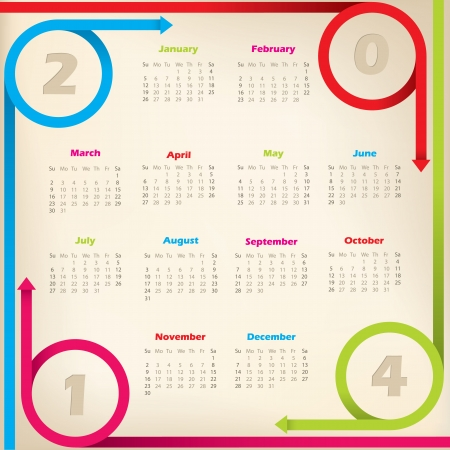 Cool new 2014 calendar design with circleing arrow ribbons Stock Vector - 22438506