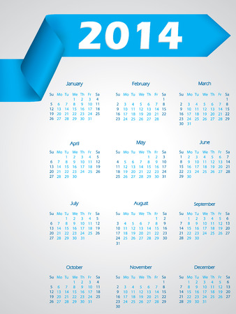 Blue ribbon calendar design for year 2014 Stock Vector - 22438509