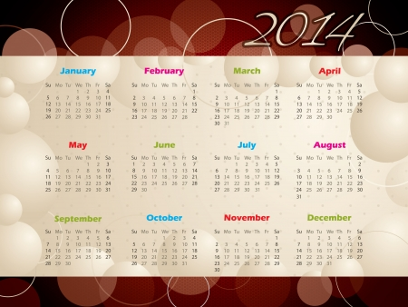 Abstract 2014 calendar design with bubbles and circles Vector