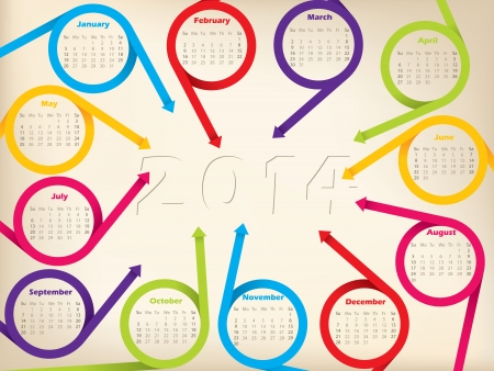 red ribbon week: 2014 calendar design with circleing arrow ribbons and shadow year
