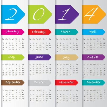 Arrow calendar design for the year 2014 Vector
