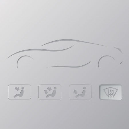 conditioning: Car silhouette design with flat icons below