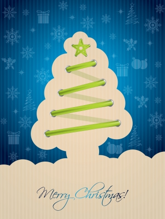 Blue christmas greeting card with green tree shaped shoelace Vector