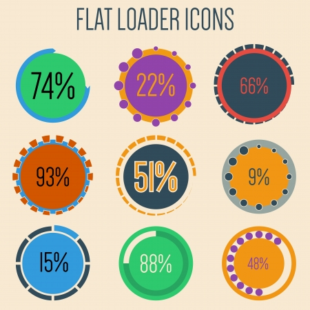 Flat loader icon set with 9 different design Vector