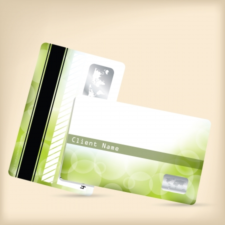Loyalty card design with abstract green bubble background Vector