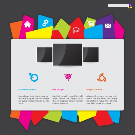 Abstract website design with color paper label button bar