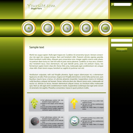 gold ring: Shiny green website template with gold ring buttons  Illustration