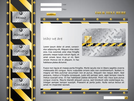 Technology web template with user account and industrial elements Vector