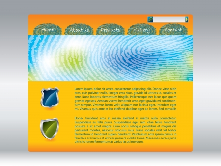 fingerprinted: Cool fingerprinted website template design in orange  Illustration