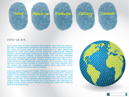fingerprinted: Website template with fingerprints and fingerprinted globe