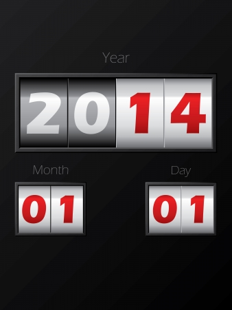 2014 date counter showing year month day Stock Vector - 22438650