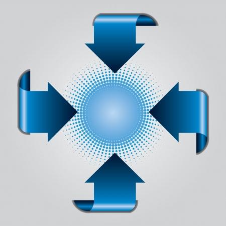 Blue arrow presentation brochure with halftone on gray background Vector