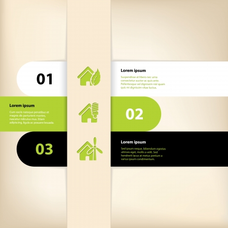 Green black white infographic design with eco house theme Vector