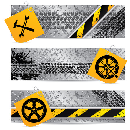 Industrial label set of three with notepapers  Stock Vector - 22749016
