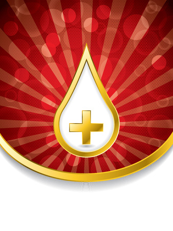 Abstract medical background with golden blood drop and cross Stock Vector - 22749031