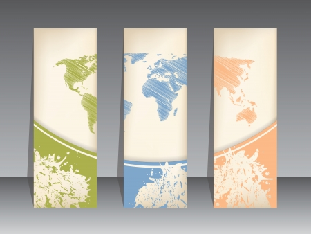 Tag set of three with scribbled world map Stock Vector - 22749036
