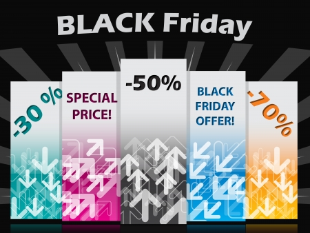 Black friday label set with discounts and bursting background Stock Vector - 22749043