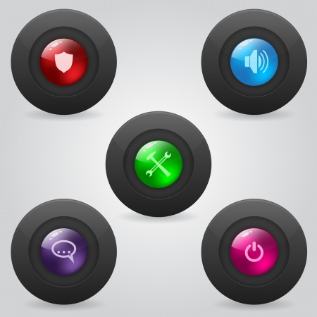 Matte web button set with shiny inner spheres Stock Vector - 22749045