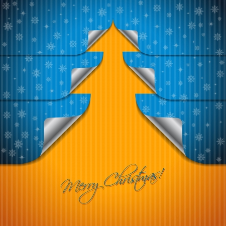 shaping: Christmas greeting card design with bent stickers shaping christmas tree Illustration