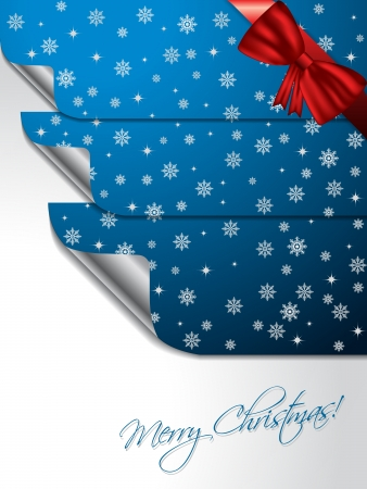 shaping: Blue christmas greeting card design with bent stickers shaping christmas tree Illustration
