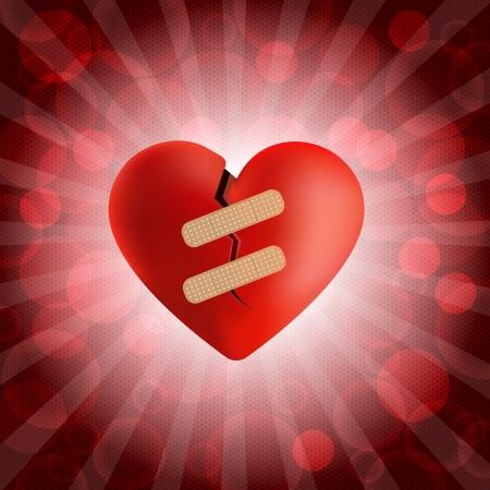 corazon roto: Corazón roto con yeso y con una explosión burbuja