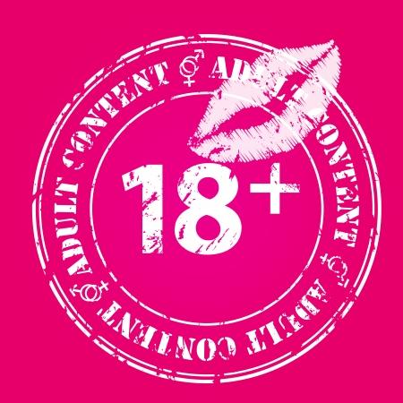 Grunge contenu adulte conception du timbre scellé avec les lèvres Banque d'images - 22749062