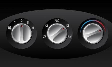 high temperature: Retro analog temperature control set of three Illustration