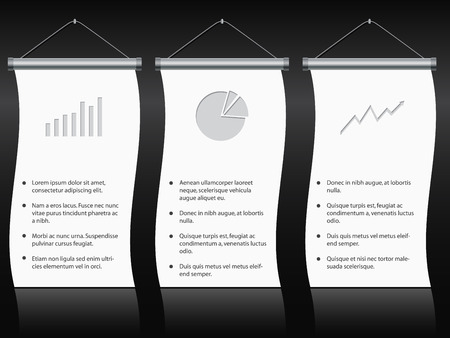 Roll up banners with gray charts and diagrams Vector