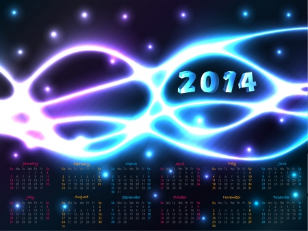 2014 calendar design with abstract plasma background  Vector