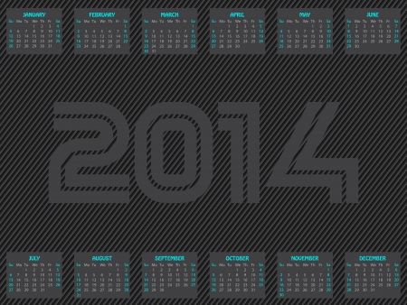 Striped calendar design for the year 2014  Vector