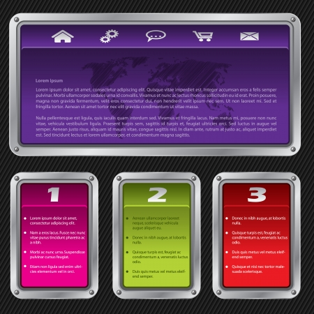 Swith shaped website template design with options and description Vector