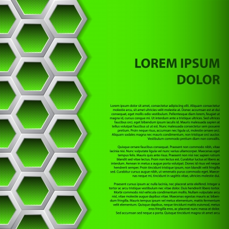 Abstract brochure background design with green hexagons Vector