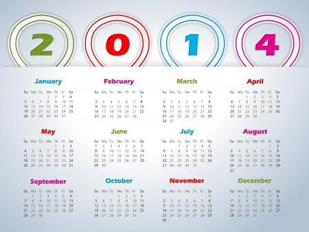 red ribbon week: 2014 calendar design with balloon shaped ribbons Illustration